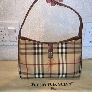 Authentic Burberry haymarket baguette hobo bag,